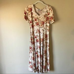 Vintage Floral Dress Crochet Collar & Lace Up Back